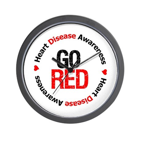 Heart Disease Go Red Wall Clock