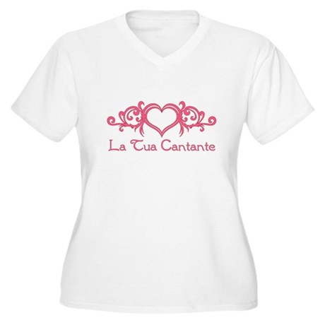 La Tua Cantante Women's Plus Size V-Neck T-Shirt