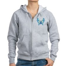 Colon Cancer Butterfly Zip Hoodie