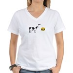 Cow & Hamburger Women's V-Neck T-Shirt