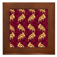 Pizza pie Pattern Framed Tile