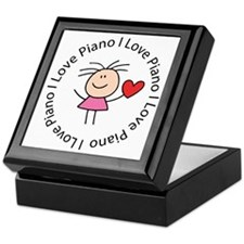 Cute I Love Piano Keepsake Box
