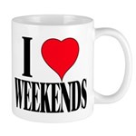 """I LOVE WEEKENDS"" MUG"