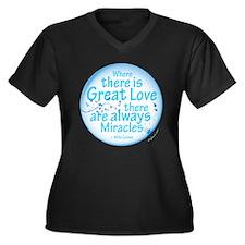 Great Love Women's Plus Size V-Neck Dark T-Shirt