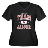 Team Jasper (B) Women's Plus Size V-Neck Dark T-Sh