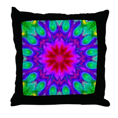Peacock Flower Throw Pillow
