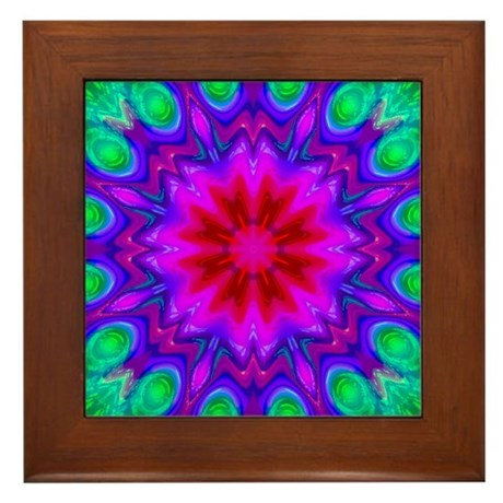 Peacock Flower Framed Tile