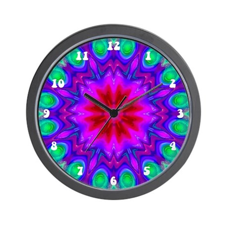 Peacock Flower Wall Clock