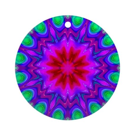 Peacock Flower Ornament (Round)