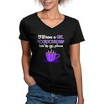 Cafe Latte Women's V-Neck Dark T-Shirt