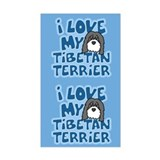 I Love my Tibetan Terrier Sticker (Cartoon)