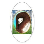 Opal Jacobin Pigeon Oval Sticker (50 pk)