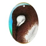 Opal Jacobin Pigeon Oval Ornament