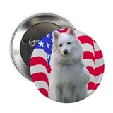 "American Eskimo with flag 2.25"" Button (100 pack)"