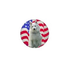 American Eskimo with flag Mini Button