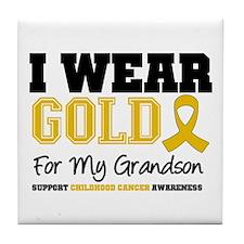 I Wear Gold Grandson Tile Coaster
