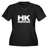 Hong Kong Women's Plus Size V-Neck Dark T-Shirt