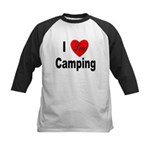 I Love Camping Kids Baseball Jersey