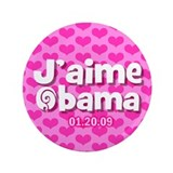 "J'aime Obama (French) 3.5"" Button"