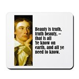 "Keats ""Beauty Is Truth"" Mousepad"