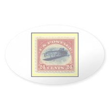 """1918 Inverted Jenny Stamp"" Oval Sticker (50 pk)"
