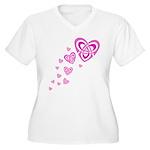 Pink Celtic Hearts Women's Plus Size V-Neck T-Shir