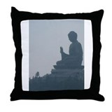grey buddah Throw Pillow