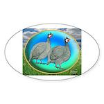 Guineas On Opal Oval Sticker