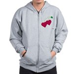 Valentine's Day Cherries Zip Hoodie