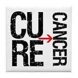 Cure Cancer Grunge Tile Coaster