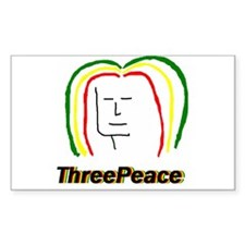 ThreePeace Rasta Rectangle Sticker 50 pk)