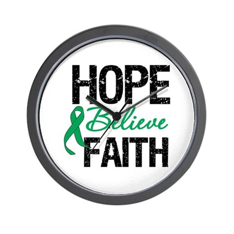 HopeBelieveFaith LiverCancer Wall Clock