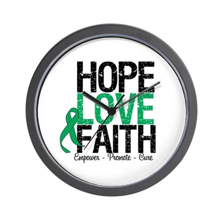 HopeLoveFaith LiverCancer Wall Clock