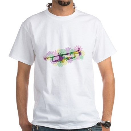 Flower Power Trumpet White T-Shirt