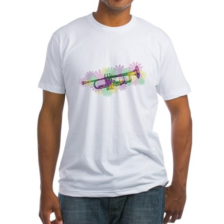 Flower Power Trumpet Fitted T-Shirt