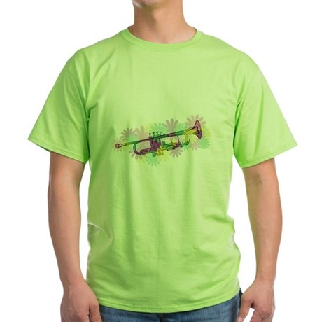 Flower Power Trumpet Green T-Shirt