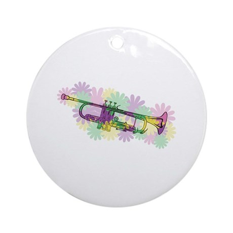 Flower Power Trumpet Ornament (Round)