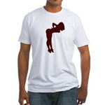 Nude Pin-up Girl Rockabilly (red 3) Fitted T-Shirt