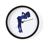 Rockabilly Nude Pin-up Girl (blue 3) Wall Clock