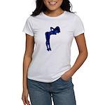 Rockabilly Nude Pin-up Girl (blue 3) Women's T-Shi