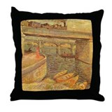 Van Gogh Bridges Throw Pillow
