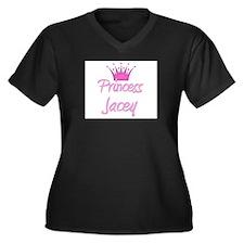 Princess Jacey Women's Plus Size V-Neck Dark T-Shi