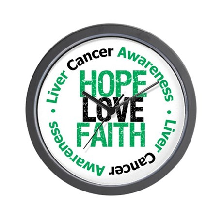 LiverCancer HopeLoveFaith Wall Clock