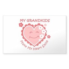 Heart Smile Grandkids Rectangle Decal