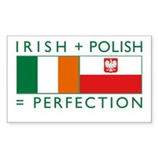 Irish Polish flags Rectangle Decal