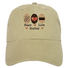 Peace Love Hockey Baseball Cap