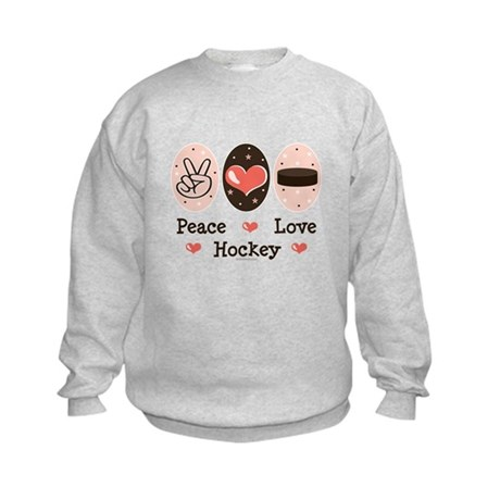 Peace Love Hockey Kids Sweatshirt