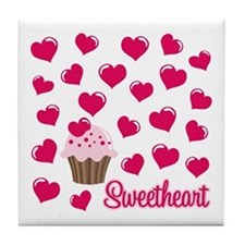 Sweetheart Cupcake Tile Coaster