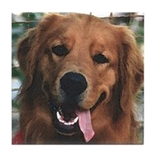 Smiling Golden Retriever Tile Coaster