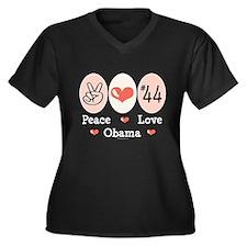 Peace Love 44 Obama Women's Plus Size V-Neck Dark